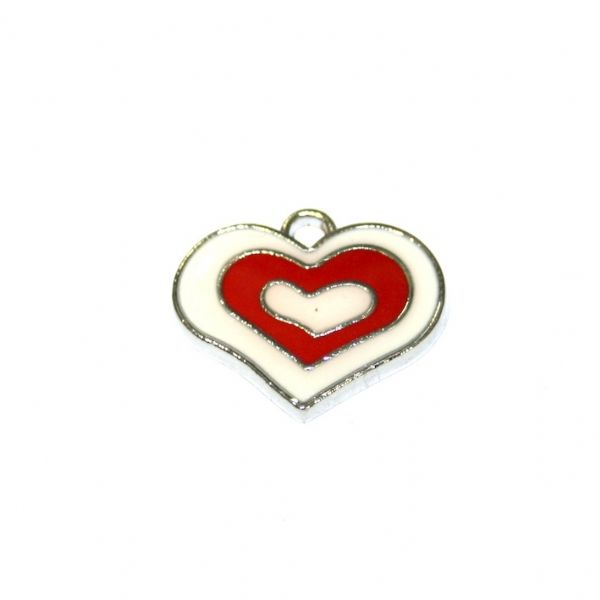 1pce x 21*18mm rhodium plated red double heart enamel charm - SD03 - CHE1139
